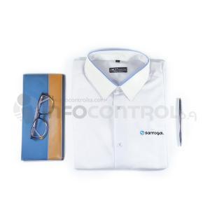 camisa santogal hombre blanco azul bordados vestir ropa trabajo