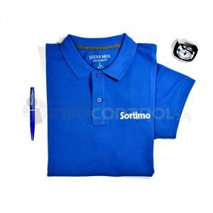 polo textil bordado azul ropa